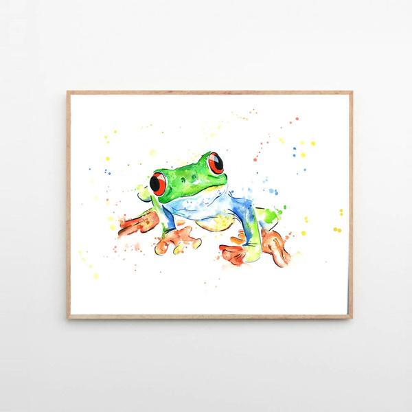 Frog abstract water colour animal wall art prints