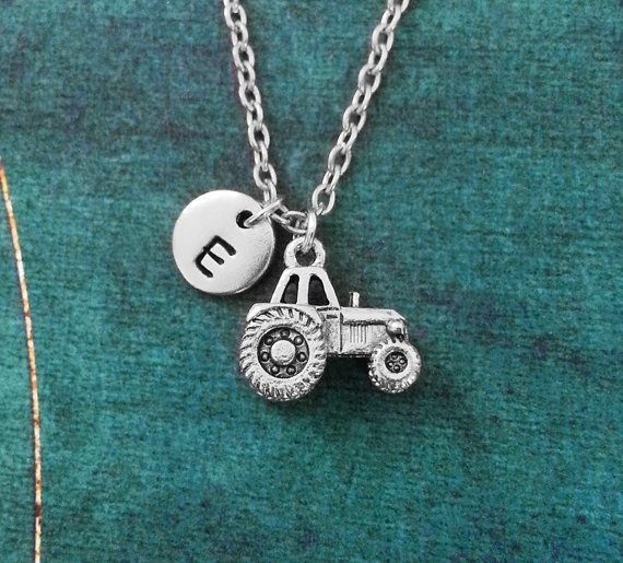 farm gifts farmer jewelry farm girl tractor necklace farmer gifts farmer necklace farm jewelry farm necklace John Deere necklace