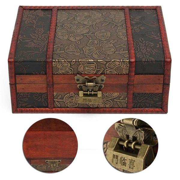 Vintage Wooden Large Decorative Trinket Jewelry Lock Chest Handmade Storage Box