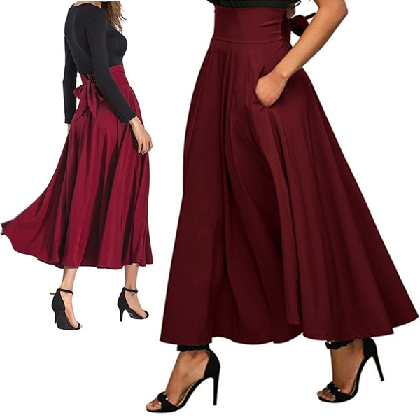 long skirt, Fashion, high waist, Office