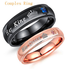 Couple Rings, Steel, Romantic, 925 silver rings