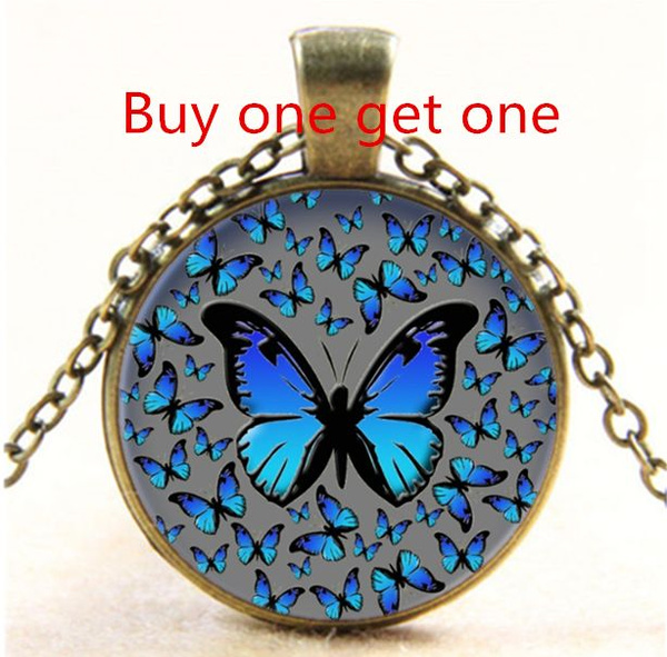 butterfly, Blues, Chain Necklace, Jewelry