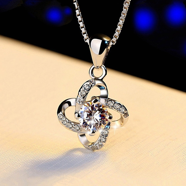 Sterling, DIAMOND, polished, Cross necklace