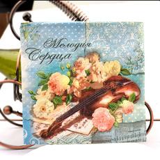 Violin, kerchief, Flowers, papernapkin