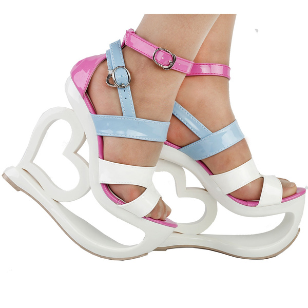 pink, wedge, Sandals, Heart