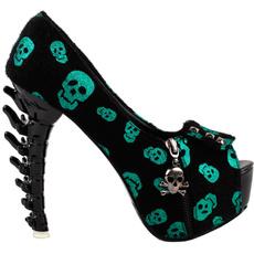 skull, zippers, Peep Toe, High Heel
