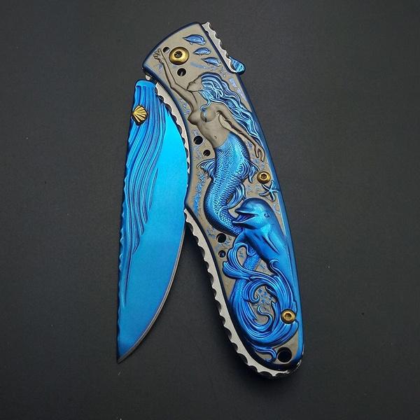 Blues, Pocket, mermaid, springassistknife