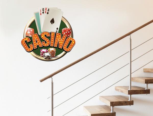 Wandtattoo Poker Schriftzug mit Spielkarten und Chips Wandsticker