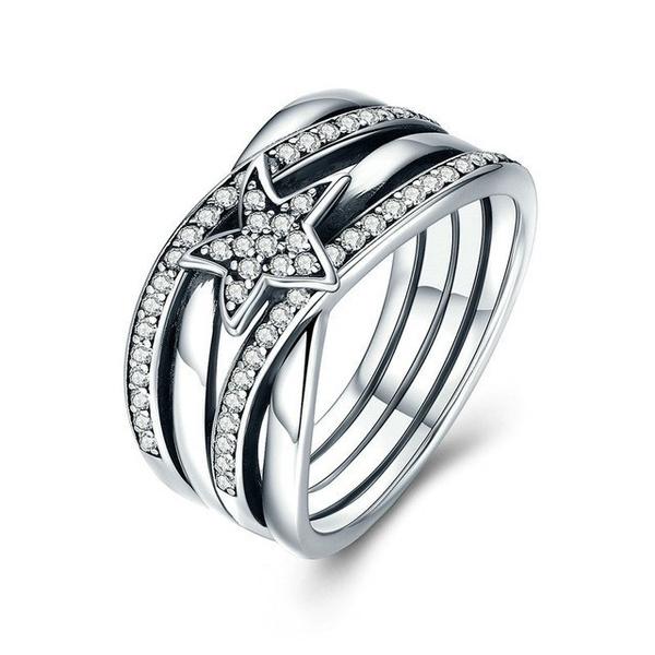 Sterling, DIAMOND, Star, zirconring