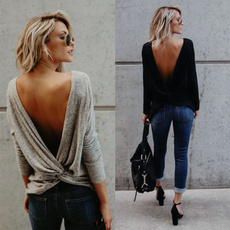blouse, Fashion, long sleeve blouse, openbackblouse