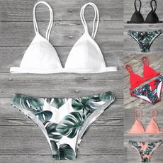 bathing suit, two piece swimsuit, leaf, bikini set