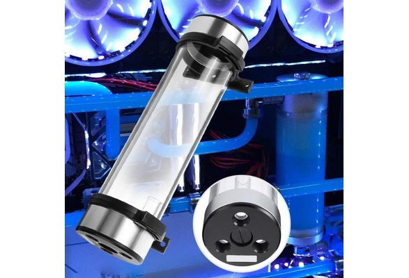 Tosuny Transparent Cylindrical Computer CPU Cooling Heat Exchanger Water Pump Tank 240MM for Practicality.