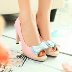 pink, bowknot, Sandals, sapato