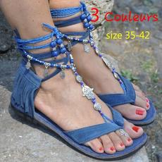 bohemia, laceupflat, Tassels, Sandals