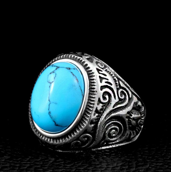 Steel, Turquoise, fashion ring, Stainless steel ring