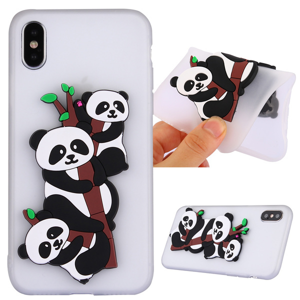 New Fashion Beautiful Design Cute 3D Vivid Panda Pattern Soft TPU Phone Case Back Cover Protection For iPhone X/8 Plus/8/ 7 Plus/7/6/6s/6 Plus/6s ...