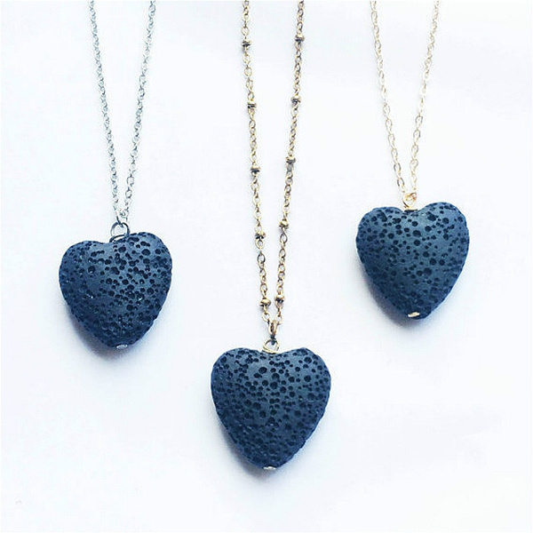 rockpendant, Heart, aromatherapynecklace, Chain