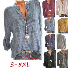 shirtsamptop, Plus Size, Long Sleeve, V-neck