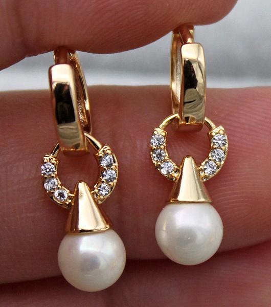 yellow gold, 18kgpjewelry, Gemstone Earrings, Pearl Earrings