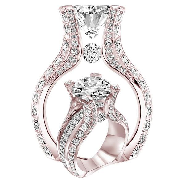 Women, DIAMOND, 18krosegoldfilled, wedding ring