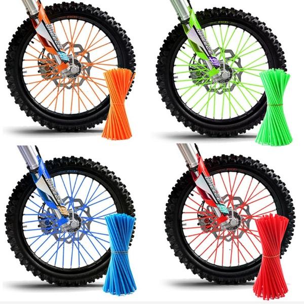 36pcs Wheel Rim Spoke Cover Wheel Spoke Protector Motocross Rims Skins Covers Off Road Motorcycle Guard Wraps Kit White Wheel Spoke Wraps