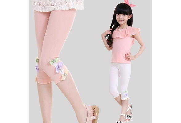 WEWINK PLUS Girls Cotton Leggings Pants for Toddler Kids 3-12 Years Style A, 7-8 Years