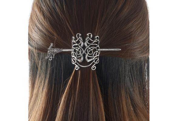 Viking Dragon Hair Clip Barrette Silver Celtic Knot Hairpin Hair Accessories