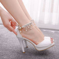 Tassels, peeptoehighheel, sexy shoes, Womens Shoes