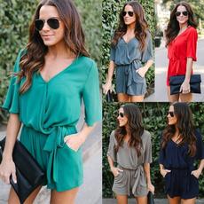 sleeve v-neck, Summer, Plus Size, women beachwear
