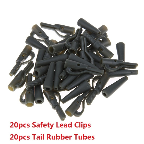 20sets Fishing Lead Clips Carp Fishing Lure Bait Tackle Tools Safety Lead Clips With Pins Tail Rubber Tubes Wish