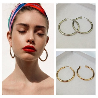 Hoop Earring, Jewelry, gold, Simple