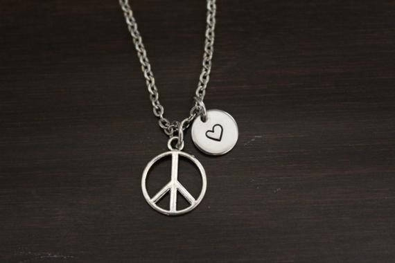monogram, peacesign, charmpendantnecklace, Gifts