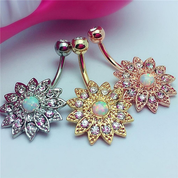 Flowers, Jewelry, navel, button