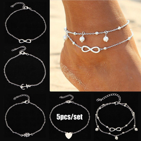 Heart, Fashion, Infinity, ankletchain