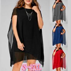 Plus Size, chiffon, asymmetric, plus size dress