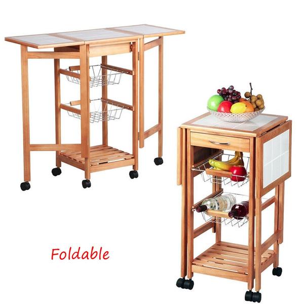 Protable Drop Leaf Kitchen Island Trolley Cart Storage Drawers Baskets Rolling Wish