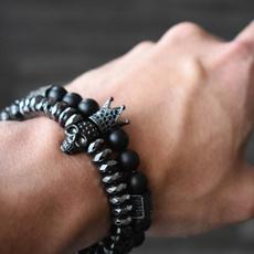 black bracelet, Steel, buddhabracelet, Skeleton