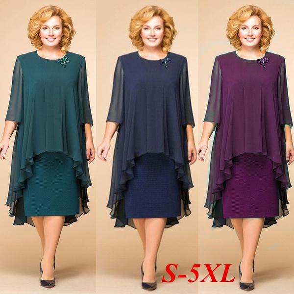 Plus Size, chiffon, Elegant, chiffon dress