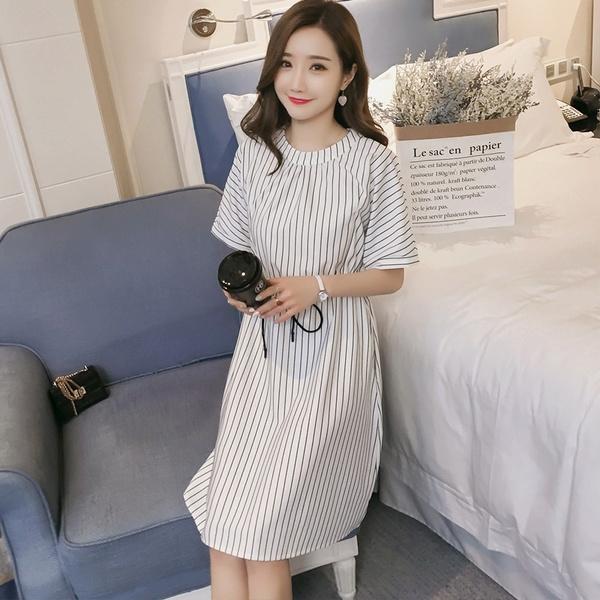 9519 Summer Fashion Maternity Nursing Dress Ties Waist Vertical Stripe Breastfeeding Pregnancy Mother Breast Feeding Clothes Wish