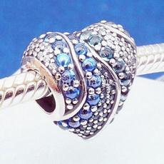 Sterling, Charm Jewelry, Heart, aqua