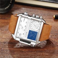 rectanglewatche, quartz, Waterproof, leather