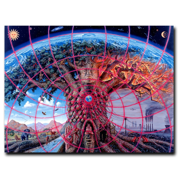 Alex Grey Psychedelic Gaia Art Canvas Prints Painting Wall Art Poster Decor 5PCS