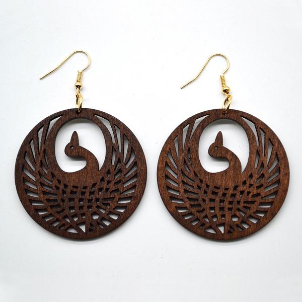 brown, earringforwome, Earring Findings, Wooden