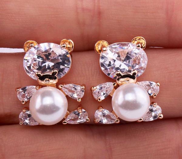 Gemstone Earrings, Pearl Earrings, Stud Earring, gold