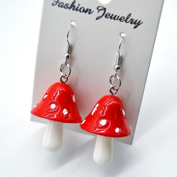cute, Dangle Earring, earringforwome, Mushroom