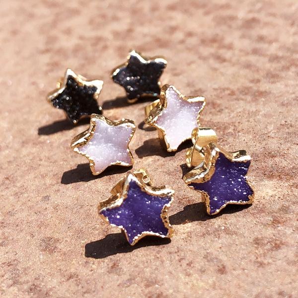 druzystudearring, golddruzystarearring, Star, Jewelry