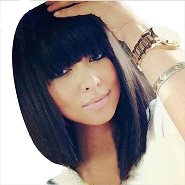 Short Bob Human Hair Full Lace Wig Full Bangs Glueless Short Brazilian Straight Human Hair Wig With Baby Hair 130 Density Lace Front Bob Wigs With Fringe Lace Front Wig Full Lace Wig