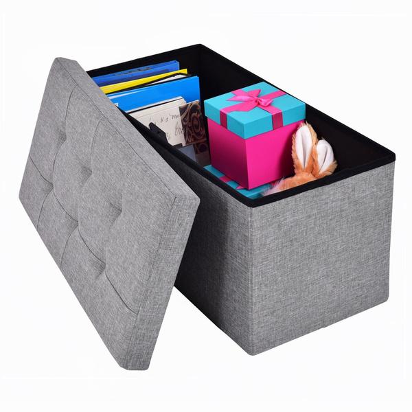 Box, Gray, Storage, footstool