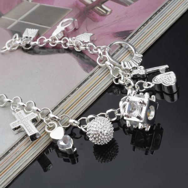 Charm Bracelet, Crystal Bracelet, Silver Jewelry, Fashion