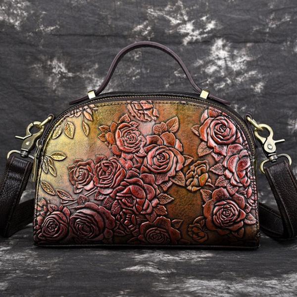 women bags, womenbagshoulderbag, rosepatternbag, genuine leather bag.
